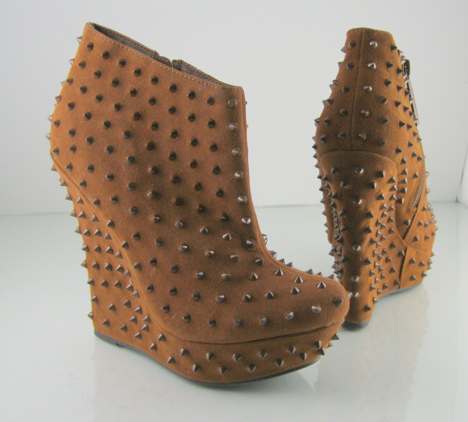 Tan Spike 5.5  High Wedge 1.5  Platform Sexy Ankle Boots Size 6.5