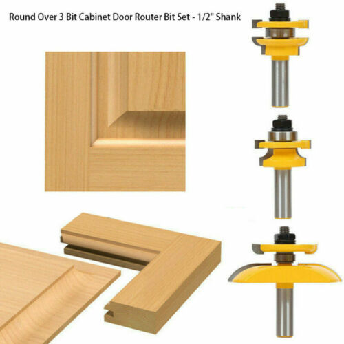 "3pc//set 1//2/"" Shank Raised Panel Cabinet Door Router Bit Woodwork Cutter Tool Hot"