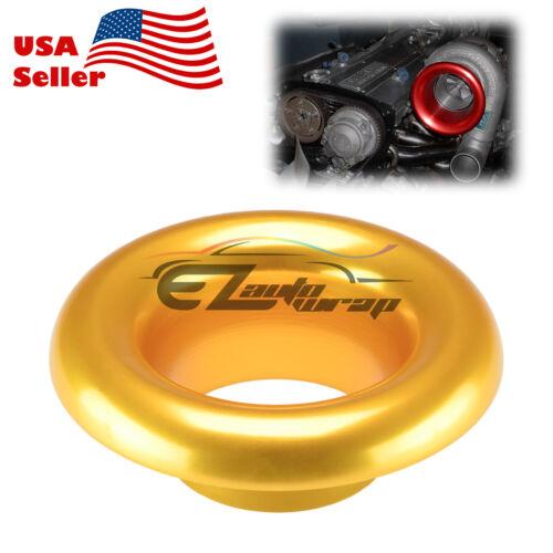 "3.5/"" Gold Short Ram Cold Air Intake Turbo Horn Aluminum Velocity Stack Adapter"