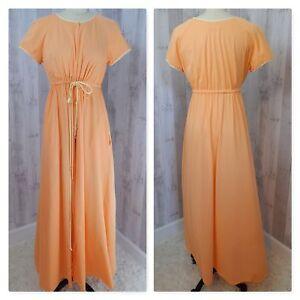 1960s Vintage Vanity Fair ROBE NIGHTGOWN~Soft Nylon Sherbet Orange ... 019e64552