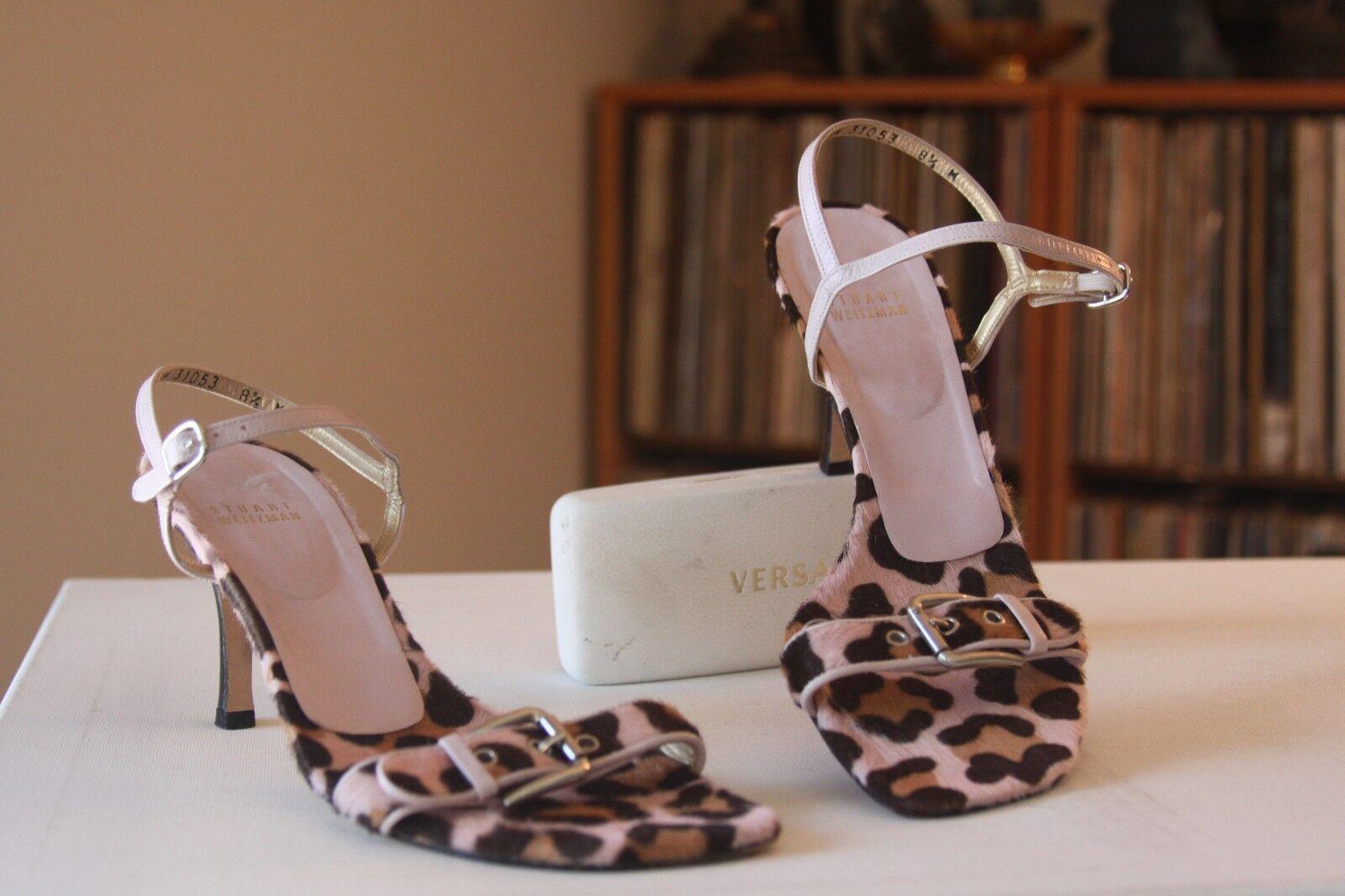 Stuart Weitzman 31053 Leopard Calf Hair 3 Inch Heel Ankle Strap Sandals Sz 8.5 M