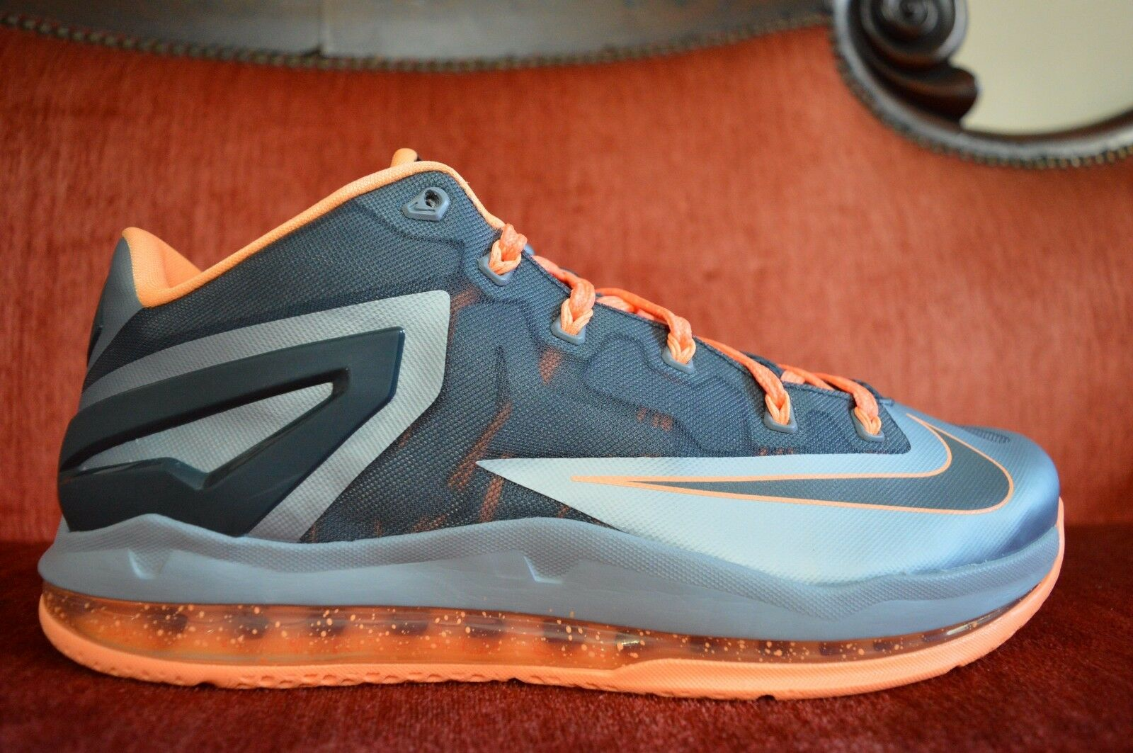 NEW  NIKE Lebron XI Low Lava Mango Men's Basketball shoes 642849 002 Size 10.5