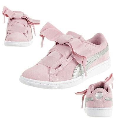 Puma Vikky Ruban AC Ps Baskets Enfants Filles Chaussures en Cuir 367640 05 Rose | eBay