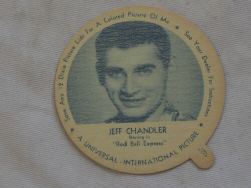 1952 DIXIE CUP NELSON'S Ice Cream JEFF CHANDLER TV Movie Star NM