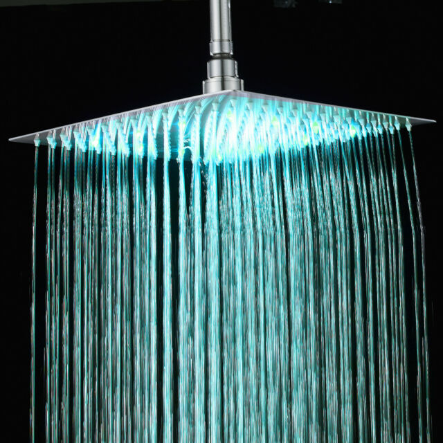 LED Shower Head Top Ceiling Rainfall Square Sprayer Faucet Glow 7 Colors Light