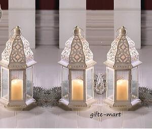 5 White Moroccan 12 Shabby Whitewashed Candle Holder Lantern