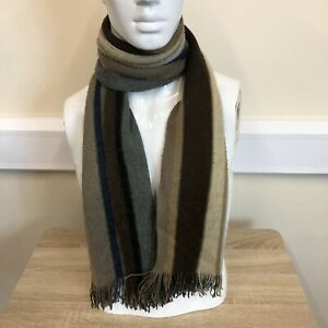 Next-Mens-Brown-Beige-Grey-Striped-Tassle-Edge-Wool-Warm-Winter-Neck-Scarf