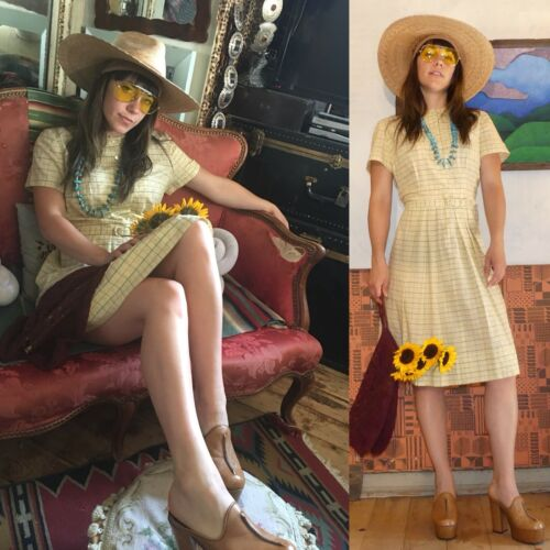 Vtg 30s-40s Yellow Sheer Bespoke Breezy Frock Cott