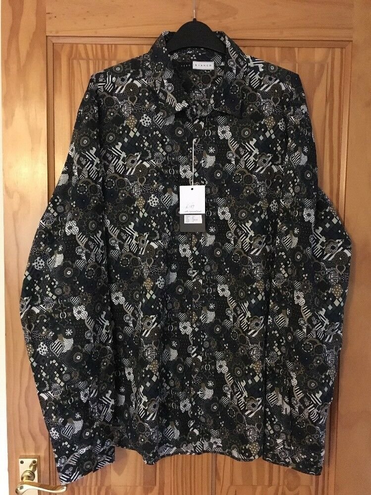 black Bianco Men's Multi Coloured Shirt - XL - New With Tags - RRP