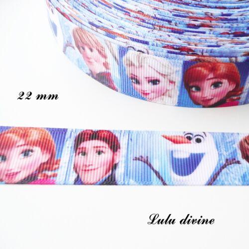 Ruban gros grain effet portrait Elsa Anna Leurs princes Olaf de 22 mm vendu au m