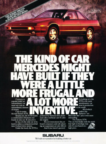 Vintage Advertisement Car Print Ad J394 Awarded 1988 Subaru XT6