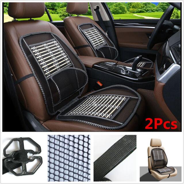 2x Mesh Bamboo Lumbar Brace Back Support Pad Car Seat Cushion Waist Massage Cool
