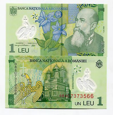 Romania 1 Leu Polymer Money Unc P117 2005 Nicolae Iorga Banknote