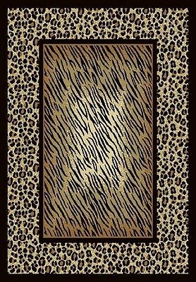 "brown SAFARI Leopard Print MODERN border 5x7 area rug: Actual 4' 4"" x 6' 7"""