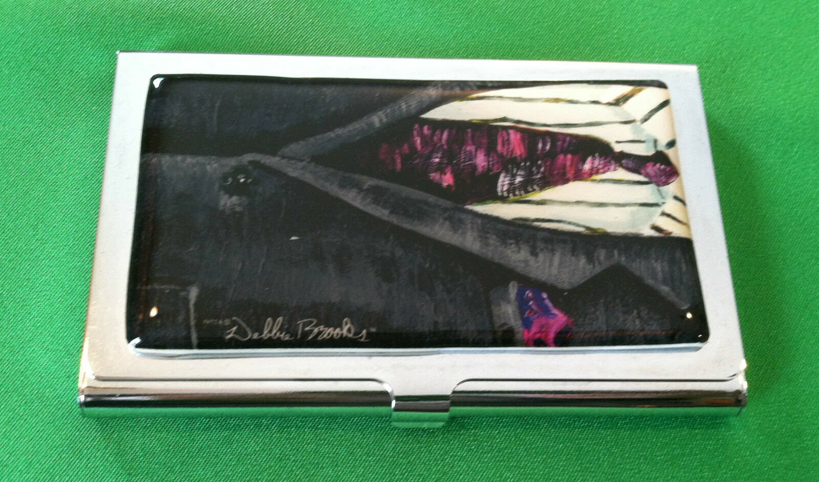 Debbie Brooks Suit and Tie Business or Credit Card Holder Art NEW