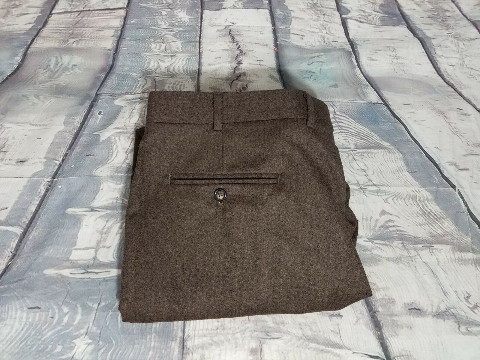 NWOT Berle Brown Super 100's Worsted Wool Pleated FLANNEL Cuff Dress Pants 38X26