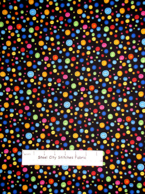 Loralie Sew Buttons Fabric - Multicolor Button Toss #985-B Sew Creative - YARD