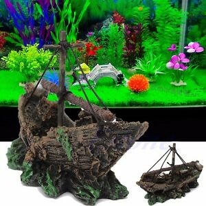 Fish tank decoration cave decor wreck sailing boat for Aquarium cave decoration