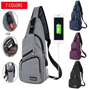 050190243e Image is loading Men-Women-USB-Charging-Crossbody-Shoulder-Bag-Chest-