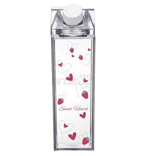 500ml Plastic Water Bottle Milk Carton Shape Leakproof Transparent Drinkware Cup