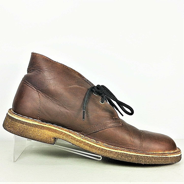 Clarks Originals Desert Boot Mens Brown Leather Crepe Soles Chukka Boot Size 8