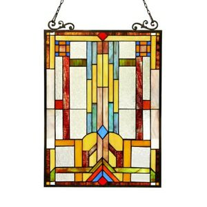 Mission Design Stained Glass Hanging Window Panel Home Decor