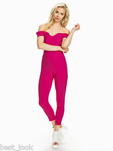 f9f42a0d67e Image is loading Miss-Selfridge-Pink-Bardot-Jumpsuit-Size-8-to-