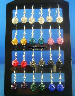 24pcs 8mm Crystal Disco Balls 925 sterling silver Hook Dangle Earrings Mix color