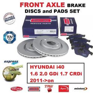 """Pour hyundai i40 1.6 1.7 gdi crdi front disque de frein disques pads set 16/"""" roues 2011"""