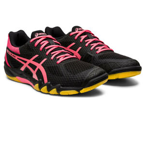 Details about Asics Womens Gel Blade 7 Court Shoes Black Pink Sports Squash Badminton
