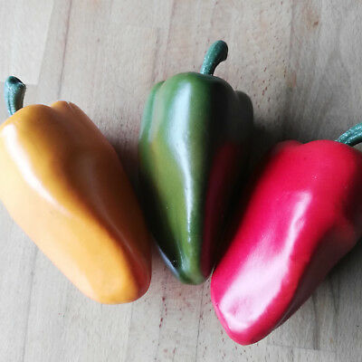 3 x Paprika Rot Grün Grün = Set  Attrappen Dekoration Gemüse Dekogemüse Plastik