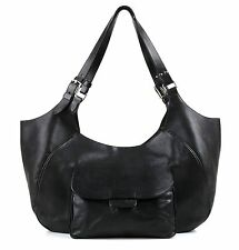 JIL SANDER BLACK LEATHER OVERSIZED HOBO SHOULDER BAG HANDBAG PURSE