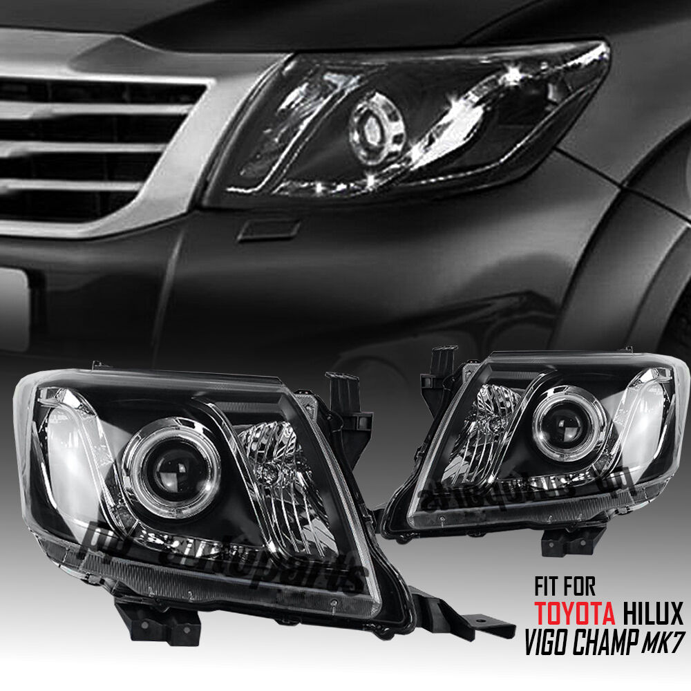 Black Projector Angel Eye Headlight Lamp Kun Toyota Hilux-3479