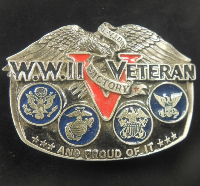 Vintage 1988 WW II World War Two Veteran and Proud of It Pewter Belt Buckle WWII