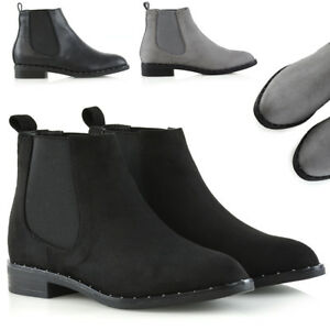 Womens-Studded-Chelsea-Boots-Ladies-Pull-On-Elastic-Gusset-Biker-Shoes-Size-3-8