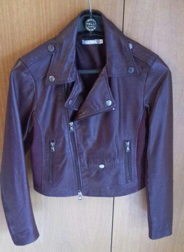 Biker Jacket Bordeaux Colore Pelle Vera Di Leather Giacca d0w1qd