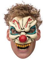 Adult Evil Clown Chinless Costume Half Vinyl Mask