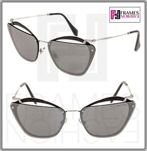 402864ef6dc2 MIU MIU NOIR Cut Out 54T Black Silver Mirrored Oversized Sunglasses ...