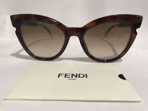 22d9b76d1957 FENDI FF 0132 S N9DJD Havana Brown Cat Eye Sunglasses Authentic COA ...
