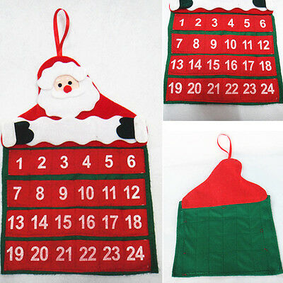 1*Red Santa Claus Design Christmas Countdown Calendar Xmas Decor