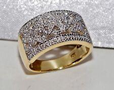BELLISSIMA 9ct giallo oro e argento anello di diamanti DONNA TRAMA GROSSA-Taglia P