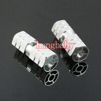 """1pair New BMX Bike Bicycle Cylinder Aluminum Alloy 3/8"""" Axle Foot Pegs Silver"""