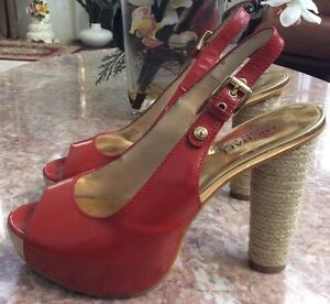 143190d8f3d Michael kors Red Patent Leather Open Toe Heel Sandal Dress Shoes SZ ...