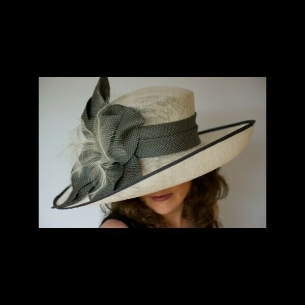 Gorgeous & Glorious Millinery Ivory Sinamay Hat with Grey silk MoB/MoG Ascot
