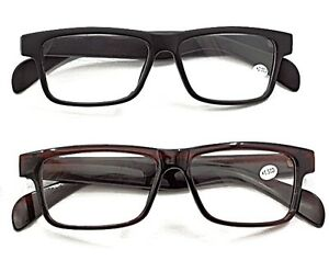 TN15-Geek-Nerd-Fashion-Reading-Glasses-Big-Frame-52mm-x-39mm-Matt-Black-or-Brown