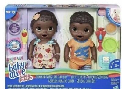 Baby Alive Snackin/' Twins Luke /& Lily Eat Black African American Dolls