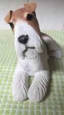 1989 Sandicast Sculpture Wire Hair Fox Terrier Dog Figurine by Sandra Bure