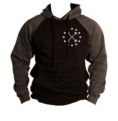 Men/'s Barbell Star Emblem Charcoal Raglan Hoodie Workout Fitness Gym Beast V397