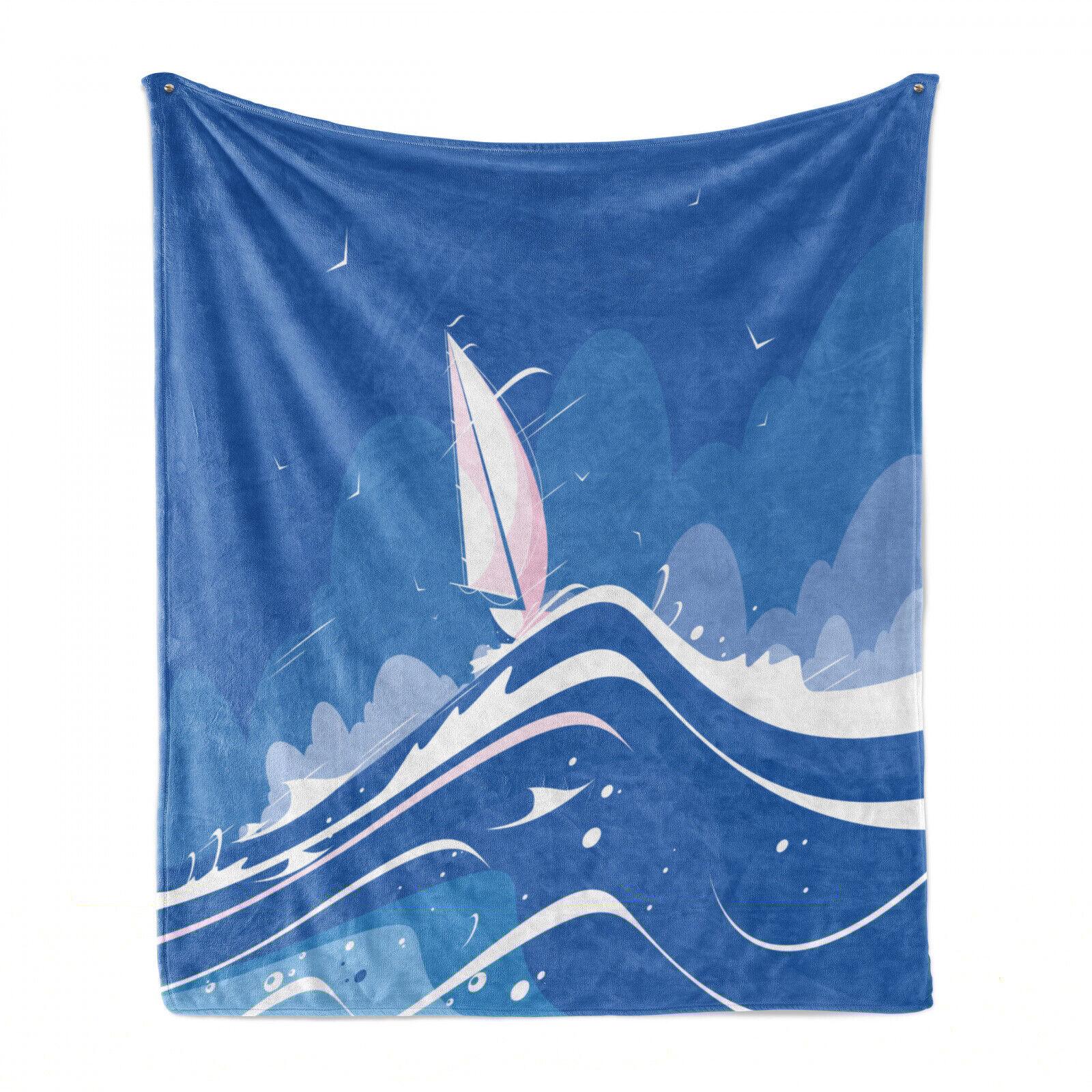 blau Wasser Weich Flanell Fleece Decke Wolken Möwen Boot