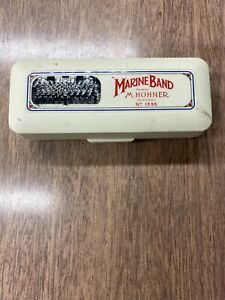 M. Hohner Marine Band Harmonica No 1896 Key Of F With Orginal Case